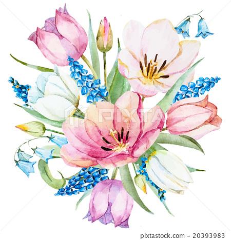 Watercolor vector spring flowers stock illustration for Spring flowers watercolor