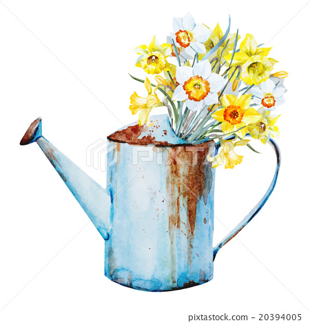 Watercolor Spring Flowers Stock Illustration 20394005 Pixta