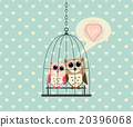 Couple Owl In Cage with Love 20396068