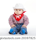 little funny cowboy on white background 20397825