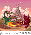 Funny dragons in a fantasy landscape with castle 20397989
