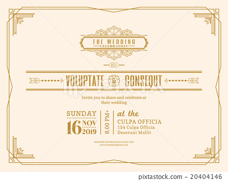 Vintage Wedding Invitation Card Frame Template Stock