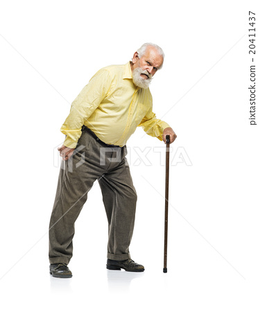Old man with cane - Stock Photo [20411437] - PIXTA
