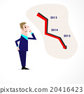 Business man confused stock market arrow. 20416423