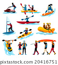 People In Extreme Water Sports Color Icons  20416751