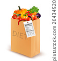 Diet bag with vegetables and a nutritional label. 20434520