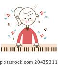 鋼琴 女孩 年輕的女孩 20435311