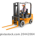 3D Worker driving a forklift unloaded 20442064