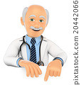 3D Doctor pointing down. Blank space 20442066