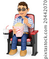 3D Young teen in the cinema with popcorn and drink 20442070