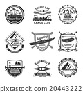 Rafting Canoeing And Kayak Emblems Set  20443222