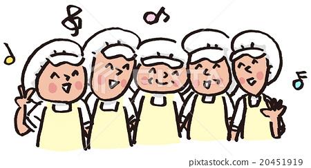 高級熱電聯產烹飪援助廚房工作人員餐飲學校手繪 20451919