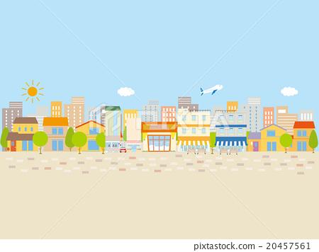 建築物和商店在襯裡,藍天和地面的街道 20457561
