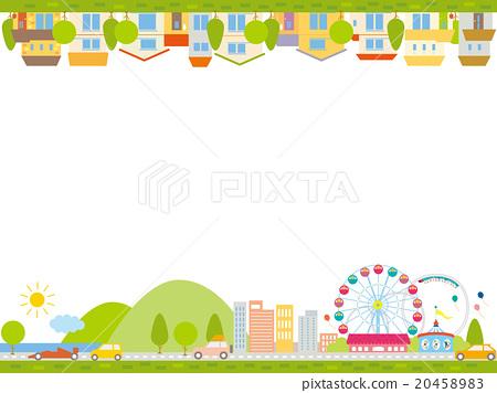 유원지와 차와 집이 늘어선 상가 프레임 20458983