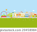 A town with rows of cars and houses, blue sky and green 20458984