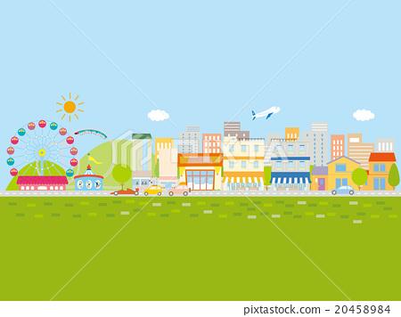有一排排汽車和房屋,藍天和綠色的小鎮 20458984
