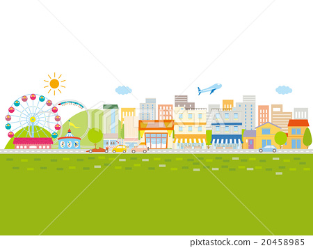 유원지와 차와 집이 늘어선 상가, 녹색 20458985