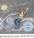 Little child in helmet with motorcycle picture 20470734