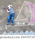Little boy having fun with ship picture drawing 20470739