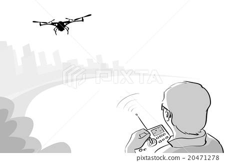 Man Silhouette Control Drone Flying Air - Stock Illustration