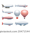 Dirigible Airship White Red Icons Set  20471544