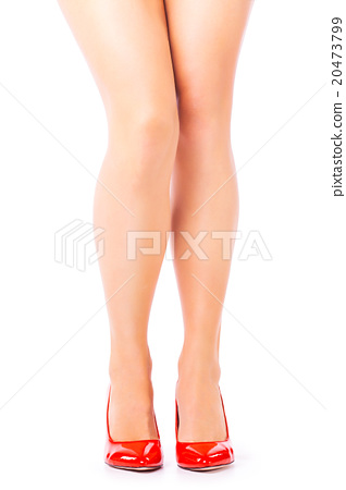 Sexy Legs In Red High Heels On White Background