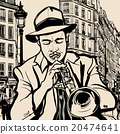 trumpet player on a cityscape background 20474641