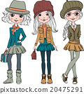 Vector set cute fashion hipster girl 20475291
