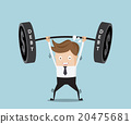 businessman lifting heavy weight debt 20475681