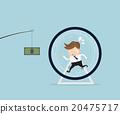 businessman running in hamster wheel 20475717
