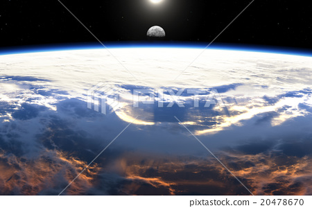 Earth sunrise with clouds, moon and stars 20478670