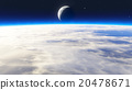 Earth sunrise with clouds, moon and stars 20478671