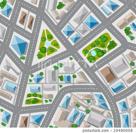 plan top view for the big city with streets stock illustration