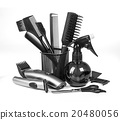 Hairdressing tools on white 20480056