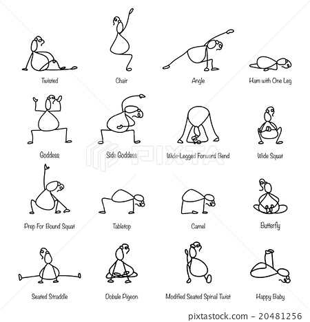 Hand Drawing Line Cartoon Yoga For Pregnancy Stock Illustration 20481256 Pixta