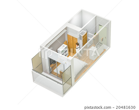 One-room apartment permeation 20481630
