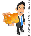 3D Businessman with a credit card 20487713