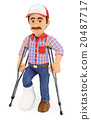 3D Worker with a leg in plaster and crutches 20487717