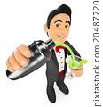 3D Tuxedo man preparing a cocktail in a shaker 20487720
