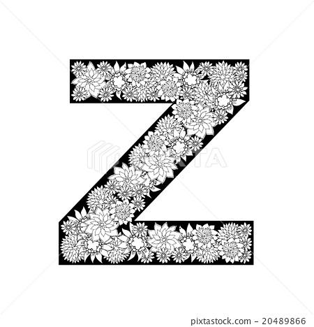Hand drawn floral alphabet design  Letter Z - Stock
