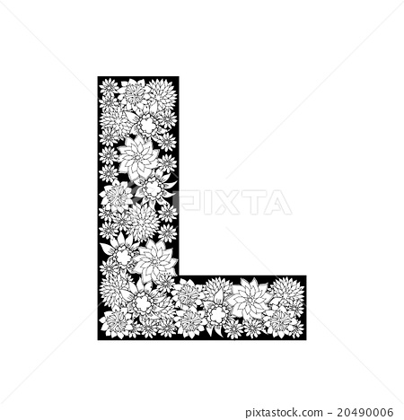 Hand Drawn Floral Alphabet Design Letter L Stock Illustration