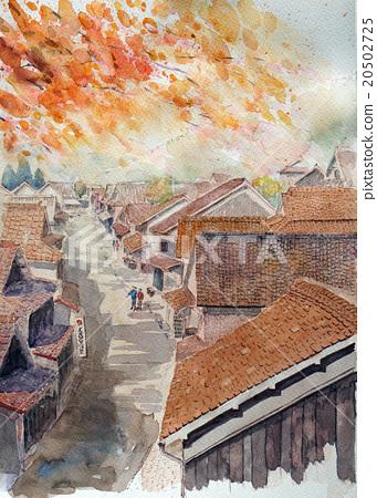 Okayama Fukiya Sketch Watercolor Autumn Autumn Leaves Japanese House Private Home Furusato Retro Autumn Leaves 20502725