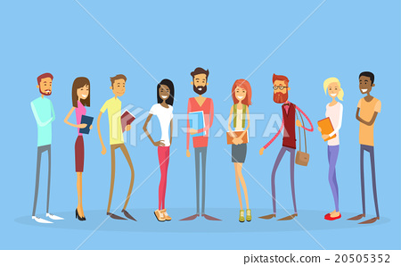 Stock Illustration: Student Group People Holding Books Education