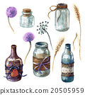 Jars  and bottles decorated in rustic style. 20505959