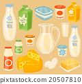 Dairy products on wooden table, milk, vector icon 20507810