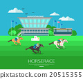 Horserace backgroung with place for text. Flat 20515355
