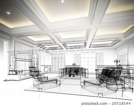 sketch design of living room ,3dwire frame render 20518544