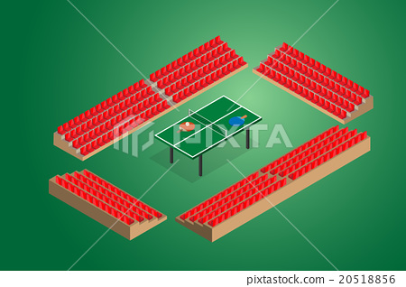 ping pong green table tennis with stadium seats  20518856