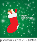 merry christmas greeting card decorate with socks 20518944