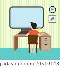 man sit infront of computer desktop 20519148